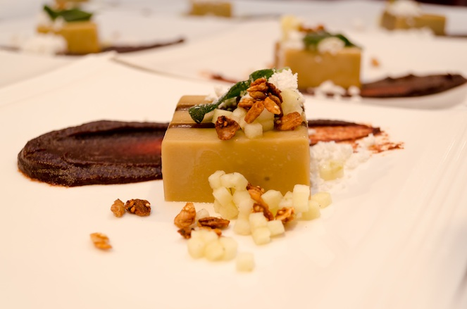 Foie Gras Terrine with Pennsylvania Maple Syrup, Vanilla-Pickled Apples, Salted Granola, and Fried Sage